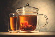 Green tea with flower. Chinese green tea with flower in transparent glass teapot. instagram image filter retro style Stock Image
