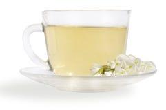 Green tea and flowers acacias Stock Photo
