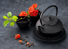 green tea and flowers Royalty Free Stock Image