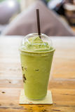 Green tea frappe and blended. On table Stock Photography