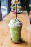 Green tea frappe and blended. On table Stock Images