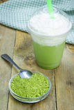 Green tea frappe in plastic cup Royalty Free Stock Photos
