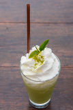 Green tea frappe. On the table Stock Images