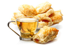 Green tea and french pastry Royalty Free Stock Photos