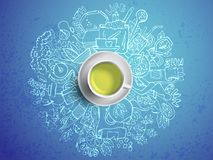 Realistic cup of green tea with circle doodles. Sketched green tea healthy elements, natural products and objects Stock Images
