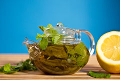 Green tea with mint and ginger Royalty Free Stock Photos