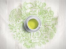 Realistic cup of green tea with circle doodles.. Green tea with fresh tea doodles. Sketched tea elements with cup of green tea. Textured background. Greeny Royalty Free Stock Photography