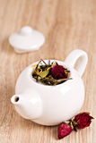 Green tea with fruits, spices, rose petals Royalty Free Stock Image