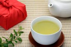 Green tea and furoshiki Royalty Free Stock Images