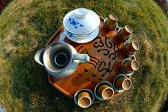 Green tea in the garden. Chinese tea ceremony setting through fisheye lense Stock Images
