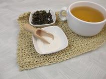 Green tea with gelatin powder Stock Images