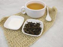 Green tea with gelatin powder Stock Photography