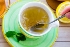 Green tea with ginseng and sage set Stock Photo