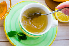 Green tea with ginseng and sage set Royalty Free Stock Images