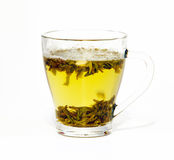 Green tea in glass cup Stock Photos