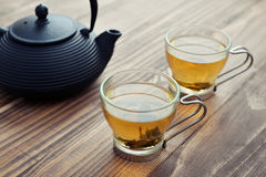 Green tea in a glass cups Stock Photos