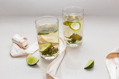 Green tea in a glass with lime Royalty Free Stock Photography