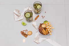 Green tea in a glass with lime Royalty Free Stock Photos
