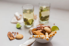 Green tea in a glass with lime Stock Photography
