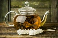 Green tea in a glass pot Stock Photos