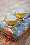 Green tea in a glass small cups Stock Photography