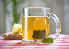 Green tea healthy drink and lemon Stock Image