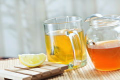 Green tea healthy drink and lemon Royalty Free Stock Photos