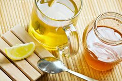 Green tea healthy hot drink, lemon, honey Royalty Free Stock Images