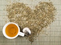 Green tea heart shape top view Stock Photography