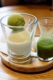 Green tea and Hokkaido milk ice cream. Green tea and Hokkaido milk ice-cream Royalty Free Stock Photography
