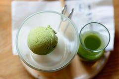 Green tea and Hokkaido milk ice cream Stock Images