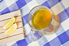 Green tea hot drink and lemon Stock Photos