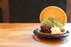 Green tea ice cream Royalty Free Stock Image