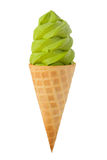 Green Tea Ice Cream Cone Stock Photo
