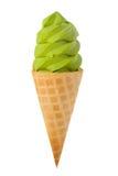 Green Tea Ice Cream Cone. Real green tea ( matcha ) ice cream cone, isolated white background Stock Photo