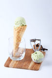 Green tea ice cream cones in clear glasses Royalty Free Stock Photography