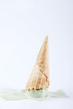 Green tea ice cream cones dropped upside down Royalty Free Stock Photography