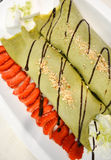 Green tea ice cream crepes Stock Images