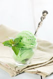 Green tea ice cream in cup Royalty Free Stock Photo