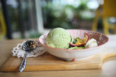 Green tea ice cream with fruit Royalty Free Stock Photos