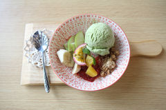 Green tea ice cream with fruit Royalty Free Stock Image