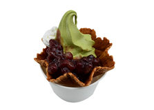 Green tea ice cream with red bean paste. And waffle - isolated on white background Royalty Free Stock Photos