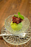 Green tea ice-cream with red bean topping Royalty Free Stock Images