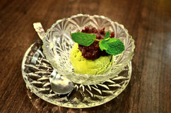Green tea ice-cream with red bean topping Stock Photo