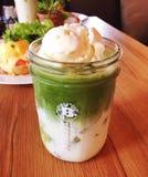 Iced Green Tea. With vanilla ice cream. Matcha Float Royalty Free Stock Photos
