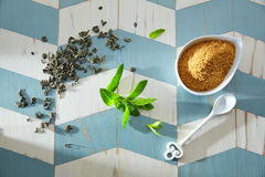 Green tea ingredients Moroccan style Royalty Free Stock Images