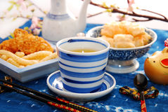Green tea and japanese rice crackers Stock Photo