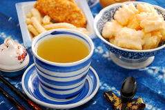 Green tea and japanese rice crackers Royalty Free Stock Photo