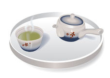 Green tea in japanese tea pot. This file was created using Adobe Illustrator CS6 and contains gradient meshes. It is available as a Vector in Adobe illustrator Royalty Free Stock Photos