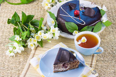 Green tea with jasmin and cake Stock Image